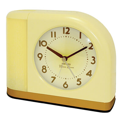retro desk clock yellow