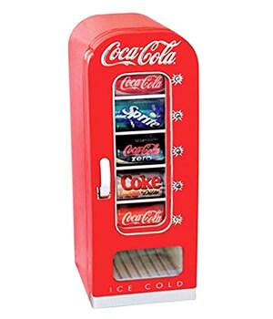Retro mini fridge vending machine cola